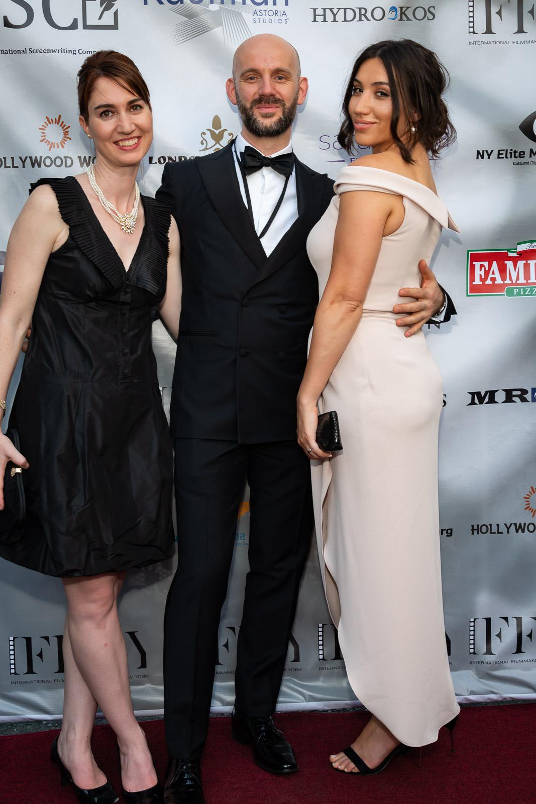 "Special guests at International Filmmakers Film Festival NY, 2018. Co-producers of ""Last Call"". Julie Asriyan, Jenna Ciralli & Kendrick Merdani"