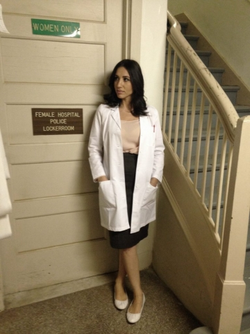 Julie Asriyan as the doctor in feature film Terrifier